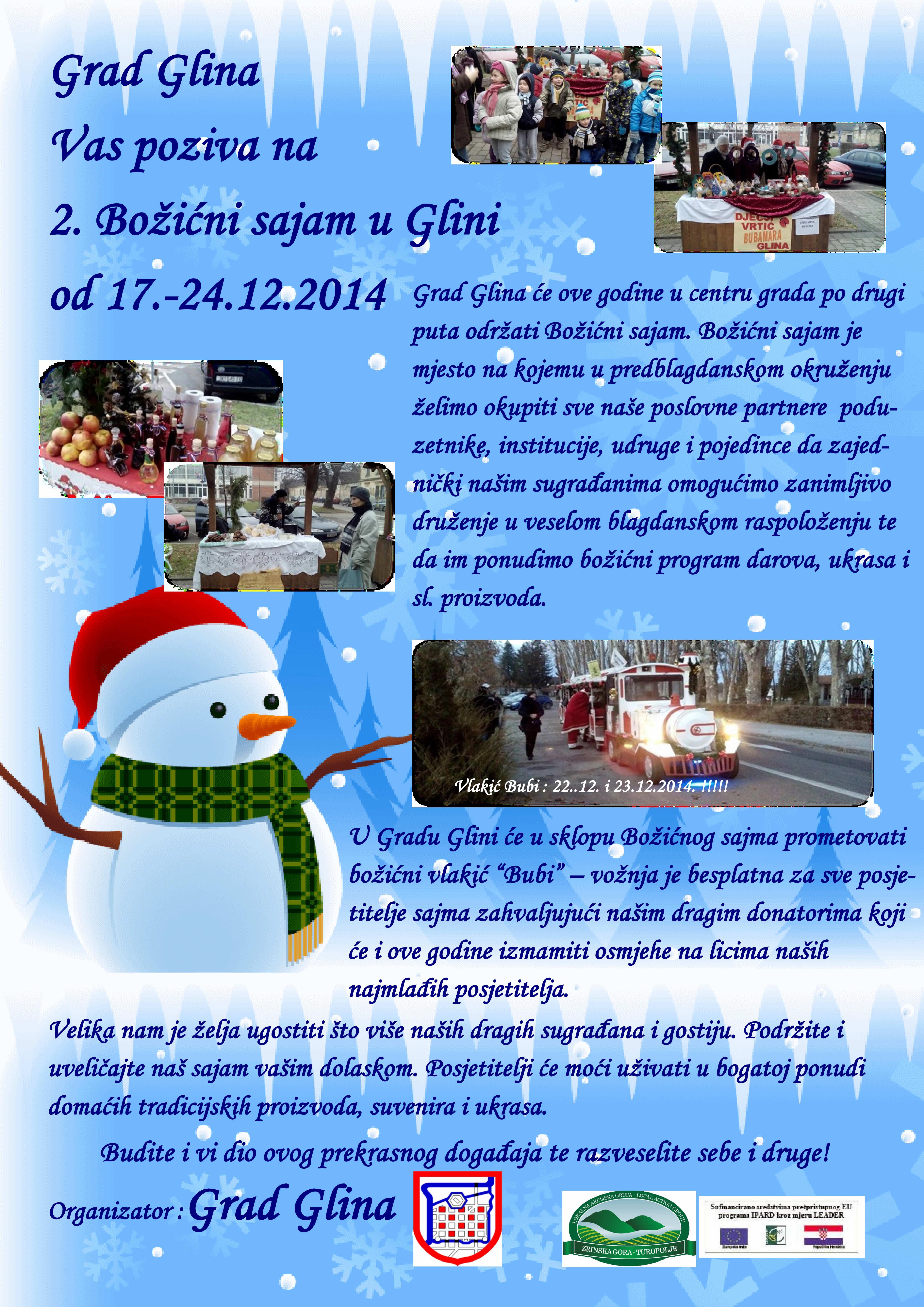 Grad Glina Vas poziva na  2. Božićni sajam u Glini  od 17-24.12.2014