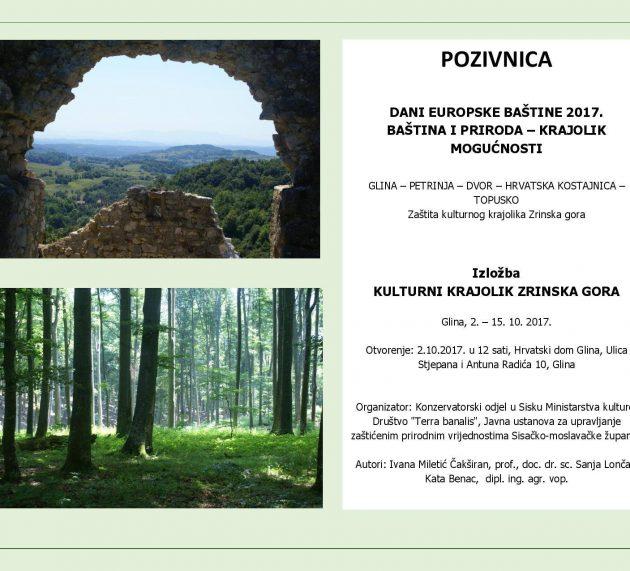 """Društvo """"Terra banalis"""" poziva Vas na otvaranje izložbe """"Kulturni krajolik Zrinska gora"""""""