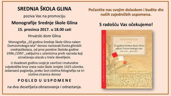 Najava: Promocija Monografije Srednje škole Glina