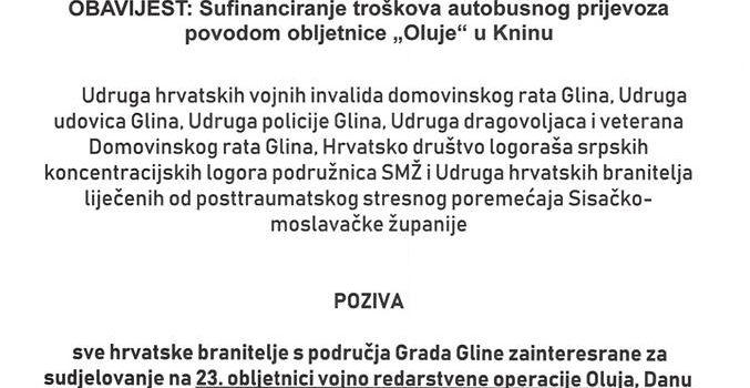 """Sufinaniciranje troškova autobusnog prijevoza povodom obljetnice VRO """"Oluje"""" u Kninu"""