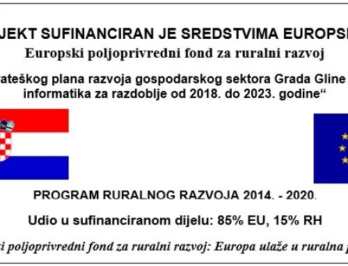Odluka o dodjeli sredstava za izradu Strateškog plana razvoja gospodarskog sektora Grada Gline – područje informatika za razdoblje od 2018. do 2023. g.